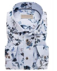 John Miller Tailored fit shirt - Bleu