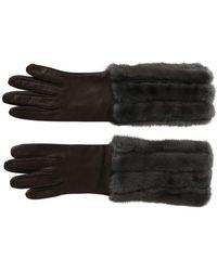 Dolce & Gabbana Mid Arm Length Leather Fur Handschoenen - Grijs