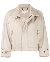 Michael Kors Leather Jacket - Naturel