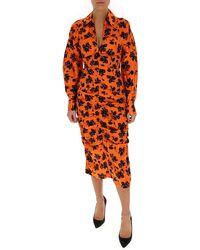 Ganni Mittellanges Hemdkleid mit Blumendruck - Orange