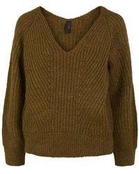 Y.A.S Bravo V-neck Knit Pullover - Bruin