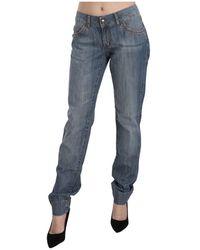Just Cavalli Low Waist Slim Fit Pants - Blauw