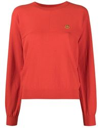 KENZO Cotton Sweater Tiger Crest Patch - Rood