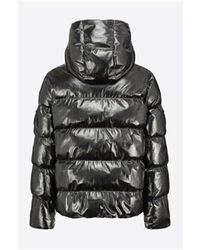 Pinko Cropped Patent-effect Down Jacket Negro