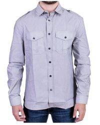 John Galliano Striped Casual Shirt - Blauw