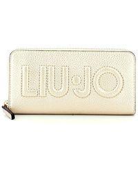 Liu Jo Large Zip Around Logo Wallet - Wit