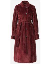 Victoria Beckham Belted Corduroy Coat - Rot
