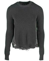 N°21 Pull noir laine fantaisie - Gris
