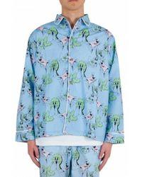 Brain Dead Pajama Top Shirt - Bleu