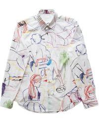 Paul Smith Slim-fit Overhemd Met Strandschetsprint - Wit