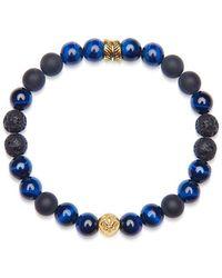 Nialaya Heren Polsband Met Blue Tiger Eye, Lava Stone, Matte Onyx, En Gold Feather Kralen - Blauw