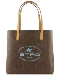 Etro Large Paisley Tote Bag With Logo Print - Bruin