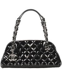 Chanel Vintage Mademoiselle Lakleren Bowlingtas - Zwart