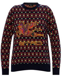 Etro Wool Sweater With Logo - Rood