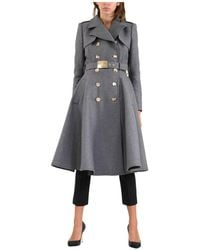 Elisabetta Franchi Double-breasted military coat Gris