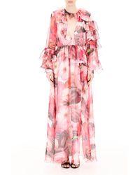 MSGM Floral-printed Dress - Roze