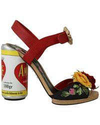 Dolce & Gabbana Floral-embellished Cylindrical Heels Amore Sandals - Rood