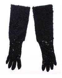 Dolce & Gabbana Lace Wool Lambskin Fur Elbow Gloves - Zwart