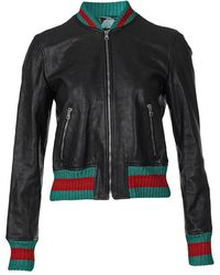 Gucci Leather jacket with tiger embroidery back - Noir