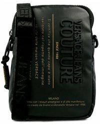 Versace Jeans Couture Bolso menssanger con logo en la parte delantera - Negro