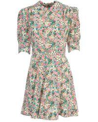 Issey Miyake Round Neck Mini Dress W/ruffle ON Sleeves - Vert