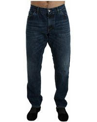 Dolce & Gabbana Washed Slim Fit Jeans - Blauw