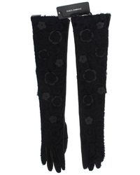 Dolce & Gabbana Black Leather Floral Xiangao Fur Gloves - Zwart