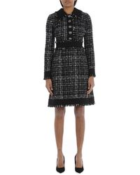 Dolce & Gabbana Tweed Midi Dress - Zwart