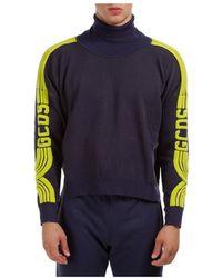Gcds Men's Polo Neck Turtleneck Jumper Sweater - Blauw