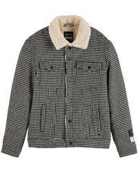 Scotch & Soda Sherpa Houndstooth Combo Jacket - Zwart