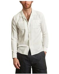 Knowledge Cotton Apparel Wave Linen and Cotton Shirt - Weiß