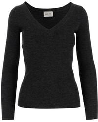 P.A.R.O.S.H. Sweater Ribbed Model V-neck Long Sleeves Tight Fit - Grijs