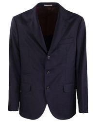 Brunello Cucinelli Met Een Rij Deconstructed Virgin Wool Jacket - Blauw