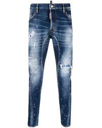 DSquared² Mid-rise Distressed Straight-leg Jeans - Blauw