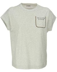 Brunello Cucinelli Slogan Print T-shirt - Grijs