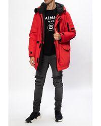 Yves Salomon Hooded down jacket Rojo