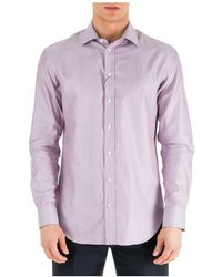 Emporio Armani Men's Long Sleeve Shirt Jurk Shirt Modern Fit - Paars