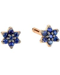 Ginette NY Mini Star Rose Gold And Sapphire Stud Earrings - Geel