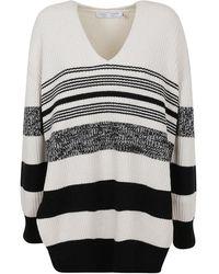 Proenza Schouler Lofty Stripe Oversized V-neck Sweater - Wit