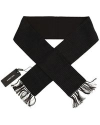 Dolce & Gabbana Wool Silk Striped Pattern Scarf - Zwart