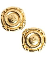 Chanel Vintage Round clip on earring - Marron