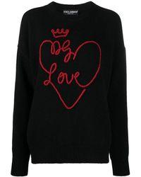 Dolce & Gabbana Wollen Trui Met Logo - Zwart