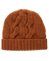 Tagliatore Hat With Lapels And Cable Knitting - Oranje