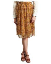 Hartford Japon Floral Skirt - Oranje