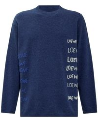 Loewe Embroidered Sweater In Wool - Blauw