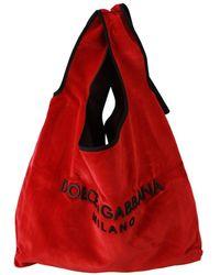 Dolce & Gabbana Velvet Logo Shopping Market Handbag Tote Bag - Rood