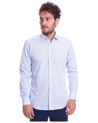 BRANCACCIO Italian Collar Gio 'striped Shirt - Blauw