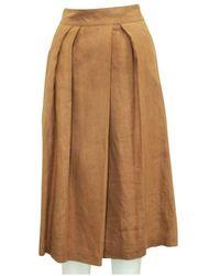 Hermès Falda plisada de segunda mano - Estado de segunda mano Muy bueno Marrón