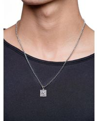 Nialaya Men's Silver Necklace With Saint George And The Dragon Pendant - Grijs