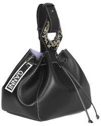 Ganni Large Drawstring Bag - Zwart